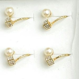 Jewelry - Pearl & Pave Crystal Cube Wrap Gold Ring